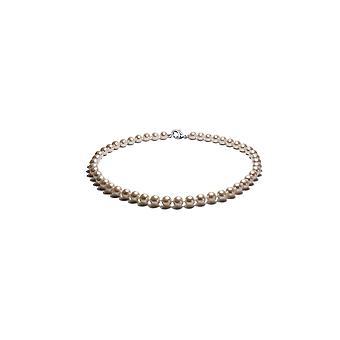 Halskjede Ras halsen kvinne i perler av ferskvann 41 cm hvit og sølv 925/1000