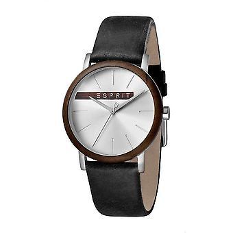 ESPRIT reloj relojes analógico madera plata cuarzo negro