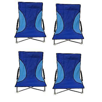4 Blue Nalu Folding Low Seat Beach Chair Camping Chairs