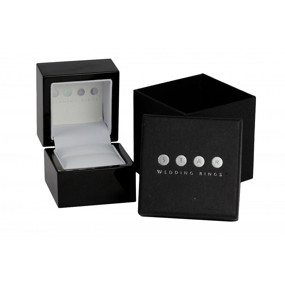 Bestpreis Fantastisk pris Star Wedding Rings Palladium Matt Centre And Polished Groove 0.04 Carat Diamond 6mm Wedding Ring ES0TF