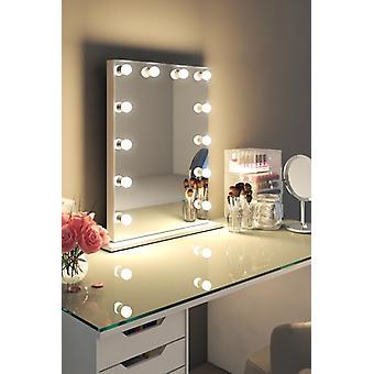 Diamond X Gloss White Hollywood Make-up Audio Spiegel LED k113MCWaud
