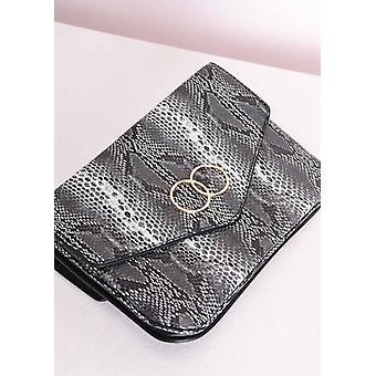 Faux Snakeskin Circle Envelope Clutch Bag Grey
