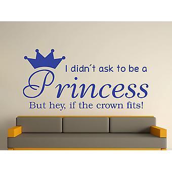 Ser una princesa v2 Wall Sticker Art - azul brillante