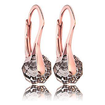 Vrouwen prachtige Rose goud Over zilver Briolette ronde oorbellen