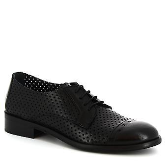 Leonardo Schuhe Frauen handgemachte Oxford-Schuhe aus schwarzem, offenen Kalbsleder