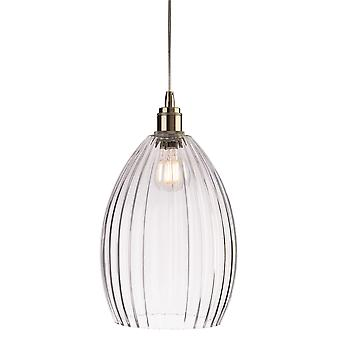 Firstlight-1 Light Ceiling Pendant Antique Brass, Clear Glass-7647AB