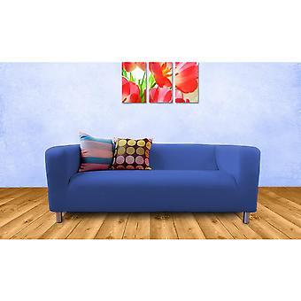 Housse de coton de remplacement pour IKEA Klippan canapé 2 places-bleu