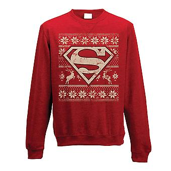 Superman Adults Unisex Adults Fair Isle Christmas Crewneck Sweatshirt