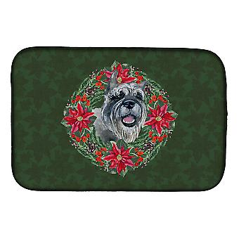 Carolines Treasures  CK1528DDM Schnauzer Poinsetta Wreath Dish Drying Mat