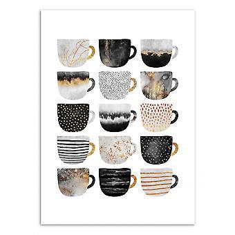 Art-Poster - Pretty coffee cups - Grey series - Elisabeth Fredriksson 50 x 70 cm