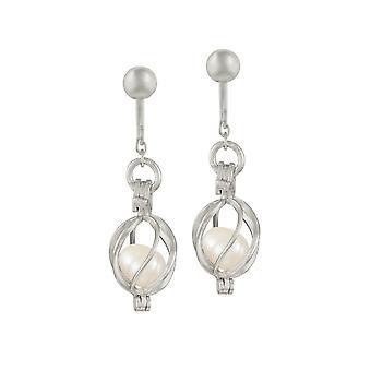 Ewige Sammlung gebannt weiß Süßwasser Perlen Sterling Silber Tropfen Clip auf Ohrringe