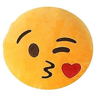Emoji Smiley Emoticon Round Pillow Cushion Stuffed Plush Soft Toy Throwing Kisses with a Wink !