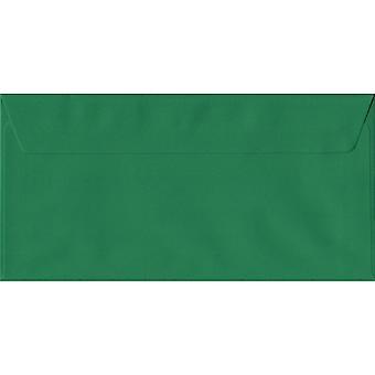 Xmas Green Peel/Seal DL farbige grüne Umschläge. 100gsm FSC nachhaltigen Papier. 110 mm x 220 mm. Wallet-Stil-Umschlag.