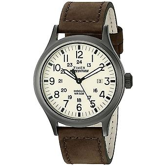 Timex Mens Quartz Watch Timex Expedition Scout med läderrem (modell T49963)