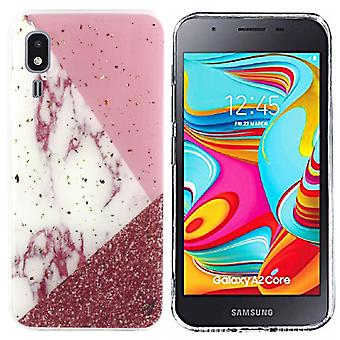 Samsung A2 Core Weiß/Rosa/Rot - Marmor