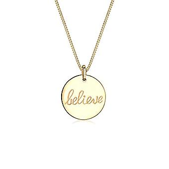 Elli Women's Necklace in Silver 925 with Circle Shape Pendant