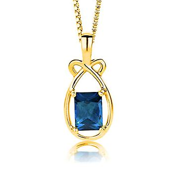 ParJoy Necklace Women's Pendant avec Topazio Chain London Blue Silver 925 Plated Gold Chain 45 CM