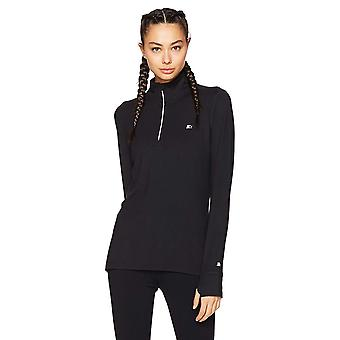 Starter Women's Long Sleeve Half-Zip Top,  Exclusive, Black, Extra Small
