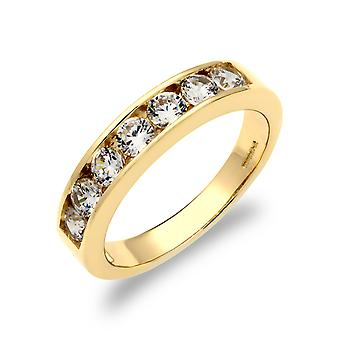 Jewelco London Ladies Solid 9ct Yellow Gold White Round Brilliant Cubic Zirconia 7 Stone Eternity Ring