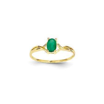 14k Ouro Amarelo Polido Anel esmeralda tamanho 6 joias para mulheres