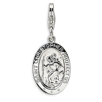 925 Sterling Silver Rhodium plated Fancy Lobster Closure St. Christopher Medal With Lobster Clasp Charm Pendant Necklace