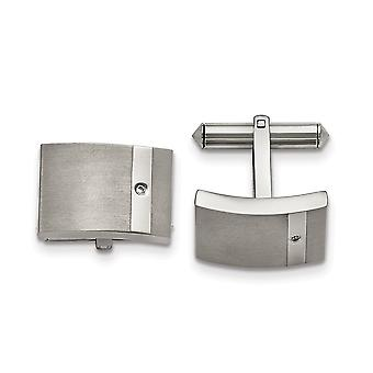 Titanium Brushed and Polished Clear CZ Cubic Zirconia Simulated Diamond Cuff Links Jewelry Gifts for Men