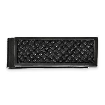 Edelstahl poliert schwarz Ip mit Leder Inlay Geld Clip Schmuck Geschenke für Männer
