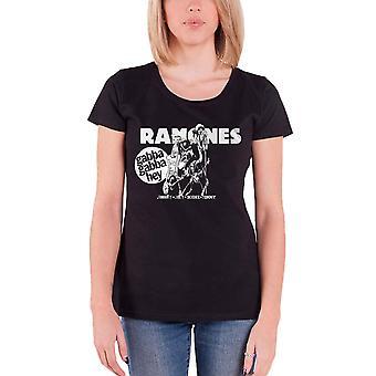 Ramones T Shirt Gabba Gabba Hey Cartoon new Official Womens Skinny Fit Black