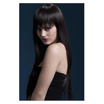 Horúčka Jessica WIG, hnedá, dlhá rovno s Fringe, 26inch/66cm efektné šaty príslušenstvo