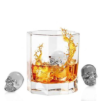 3D Skull Ice Cube Tray Mould Makes 4 Skulls - Food Grade Flexible Silicone Ice Cube Maker in Skull Shapes for Whiskey Ice and Cocktails