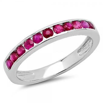 Dazzlingrock Collection 0.50 Carat (ctw) 10K Round Ruby Ladies Wedding Stackable Ring Band 1/2 CT, White Gold