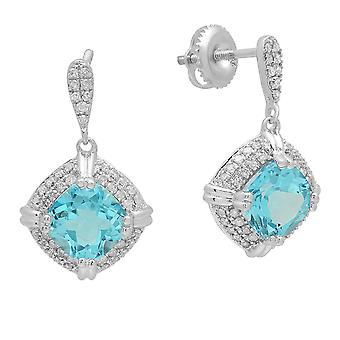 Dazzlingrock Collection 7 MM Cushion Blue Topaz & Round White Diamond Ladies Drop Earrings, Sterling Silver