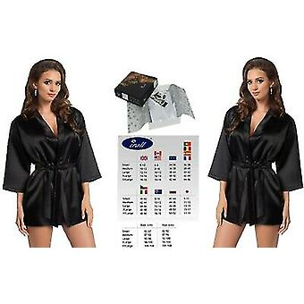 Irall Lingerie 'Aria' Shiny Satin Short Dressing Gown with Wide Belt