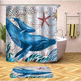 Whales Vintage Map Shower Curtain