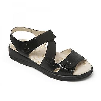Padders Cruise Ladies Extra Wide (3e/4e) Sandals Black Reptile