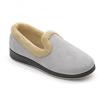 Padders Repose Ladies Microsuede Extra Wide (2e) Slippers Grey
