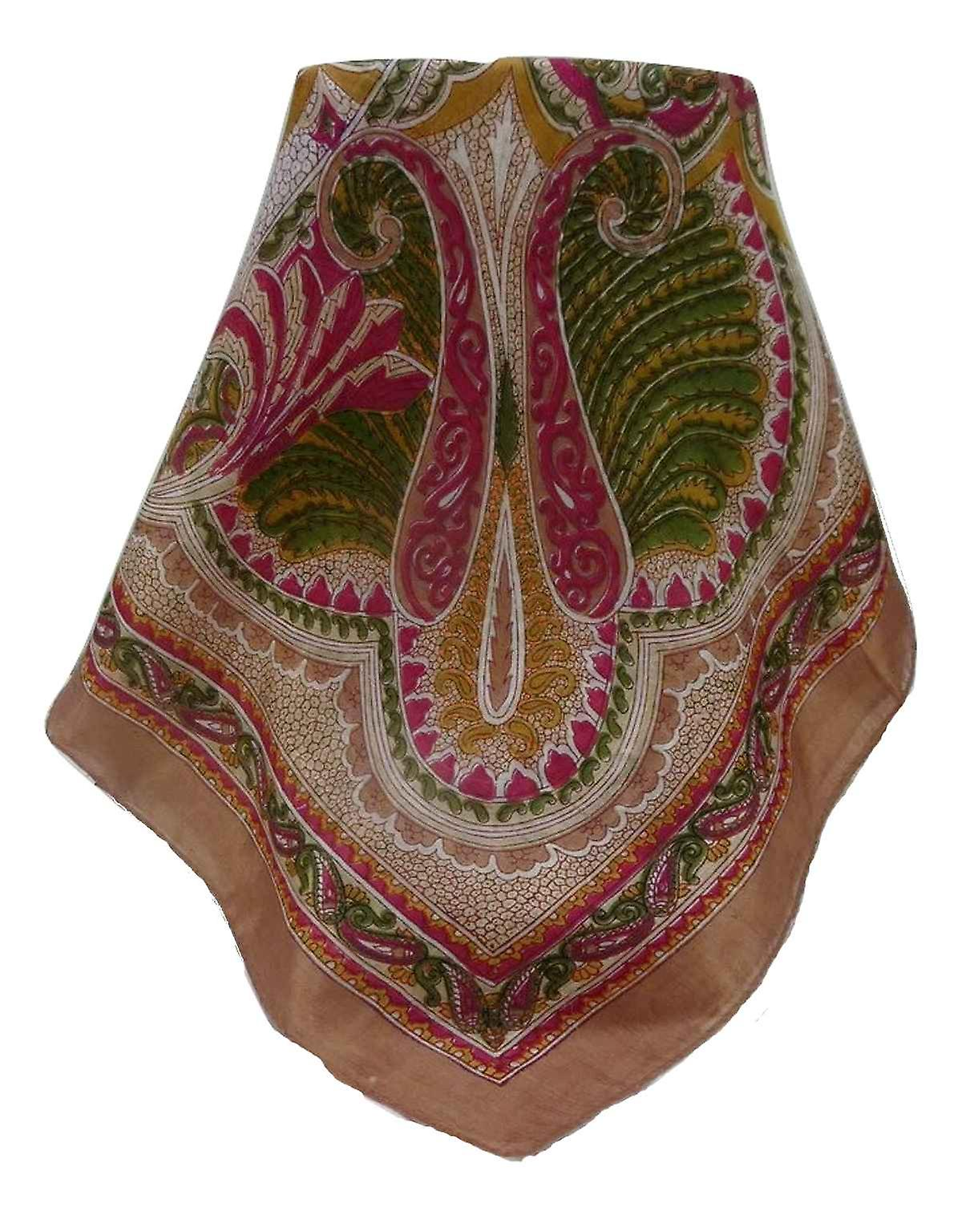 Mulberry Silk Traditional Square Scarf Shakir Chestnut by Pashmina & Silk