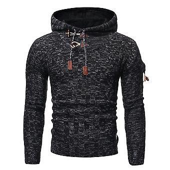 Allthemen Men's Horn Button Hooded Casual Knit Sweater Winter Outwear Caldo Pullover Outer Round Collar