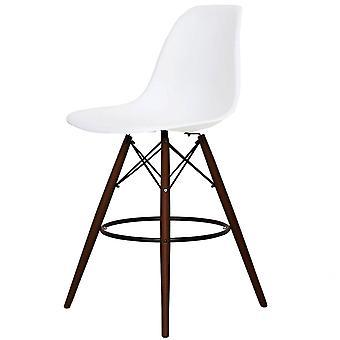 Charles Eames Styl Biały plastikowy stołek barowy - Nogi orzecha włoskiego