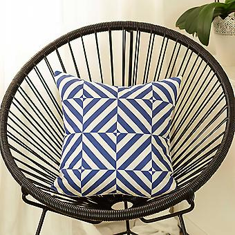 Blue and White Geometric Squares Decorative Throw Pillow Cover