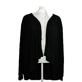 Anybody Women's Plus Sweater Rib Hacci Cocoon Cardigan Black A310154