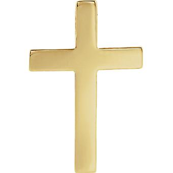 14k Yellow Gold 22x14mm Polished Religious Faith Cross Lapel Pin Jewelry Gifts for Men - .9 Grams