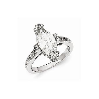 Cheryl M 925 Sterling Silver Textured CZ Cubic Zirconia Simulated Diamond Marquise Ring Jewelry Gifts for Women - Ring S