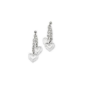 925 Sterling Silver Love Heart Ball Post Long Drop Dangle Earrings Measures 50.5x16mm Wide Jewelry Gifts for Women