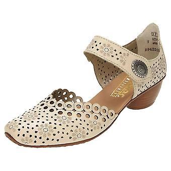 Rieker Leather Block Heel Shoes 43753-60 Bege