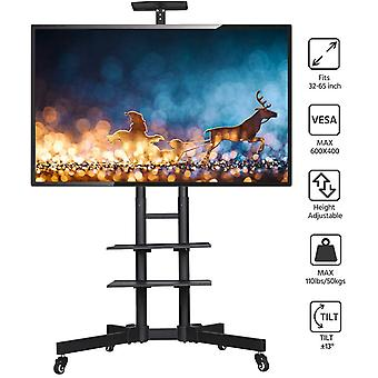 Adjustable Mobile TV Stand/Cart with Lockable Wheels and Storage Shelves for 32 to 65inch LCD/LED Flat Screen Black
