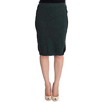 Mila Schon Green Wool Blend Pencil Skirt