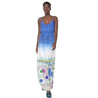 Desigual lange blaue Dip-Dye Marte Maxi Kleid