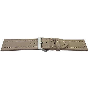 Kalb Wildleder Armband Beige genäht Größe 20mm, 22mm und 24mm Edelstahl Schnalle