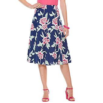 Ladies Womens Floral Skirt Linen Mix 25 Inch Length